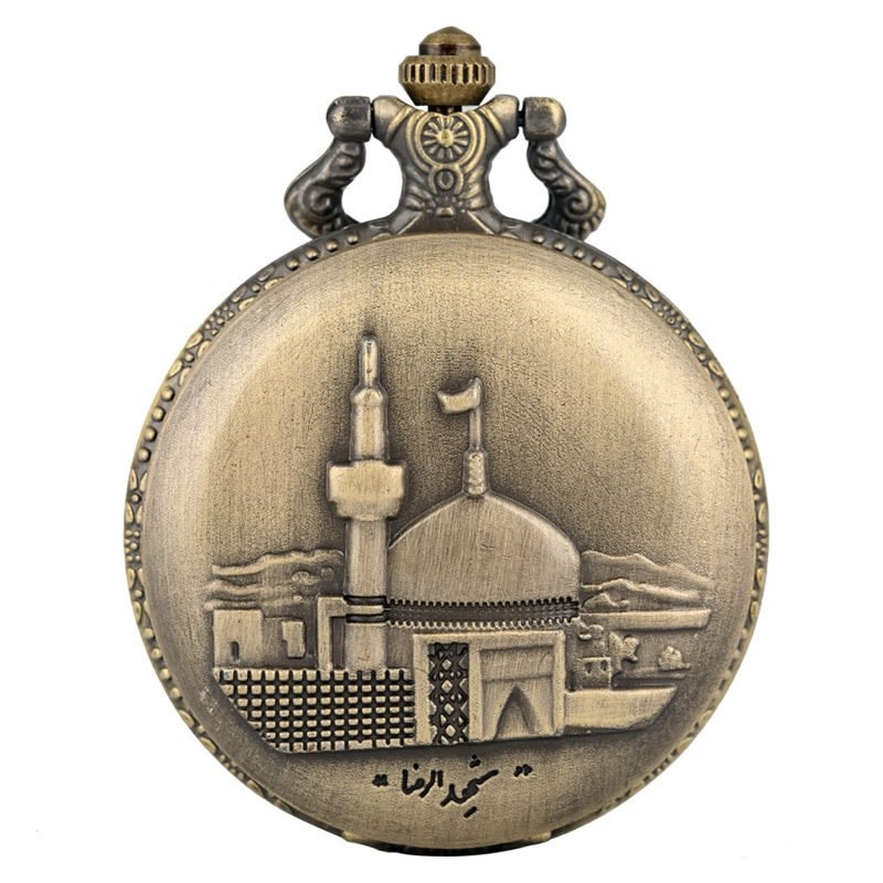 Retro Bronze Castle Building Quartz Pocket Watch Steampunk Men's Necklace Women's Pendant Fob Chain Watch Art Collectibles Reloj