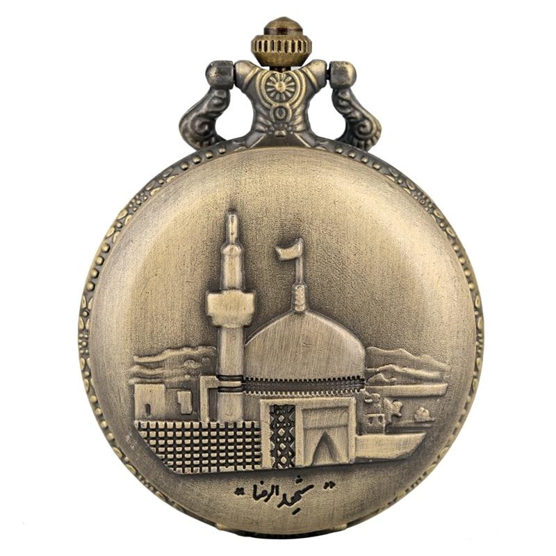Retro Bronze Castle Building Quartz Pocket Watch Steampunk Men's Necklace Women's Pendant Fob Chain Watch Art Collectibles Reloj