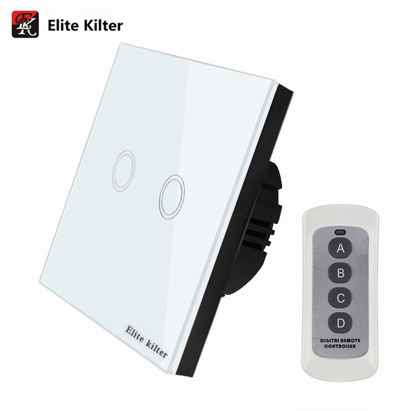 Elite Kilter EU/UK Standard Remote Control Switch 2 Gang 1 Way Smart Wall Button Wireless Remote Control Touch Light Switch funry eu uk 1 gang 1 way glass panel touch light switch wireless remote control rf433 wall switch for smart home led backlight