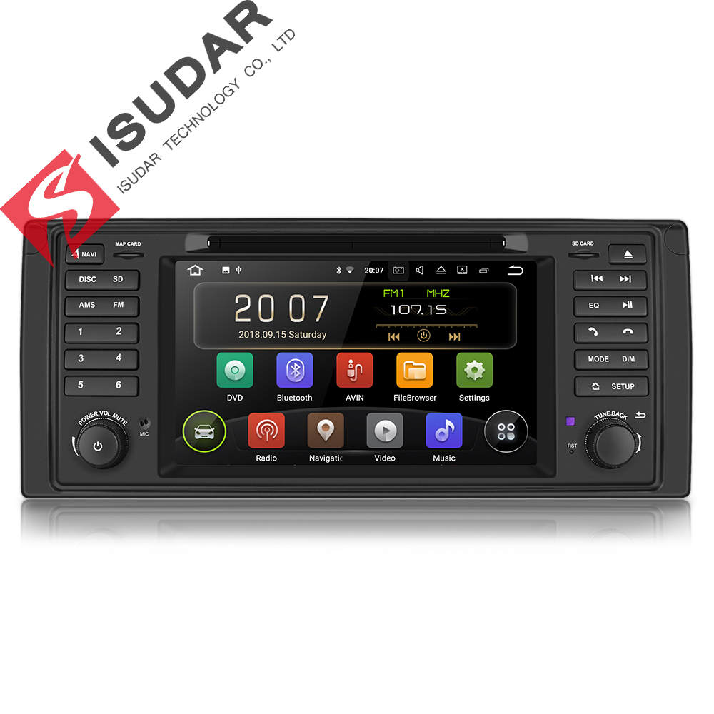 Isudar 1 Din Auto Lettore Multimediale Android 8.1 Auto Lettore DVD Per BMW E53 X5 GPS 4 Core RAM 2 GB di ROM 16 GB Radio FM DSP Bluetooth