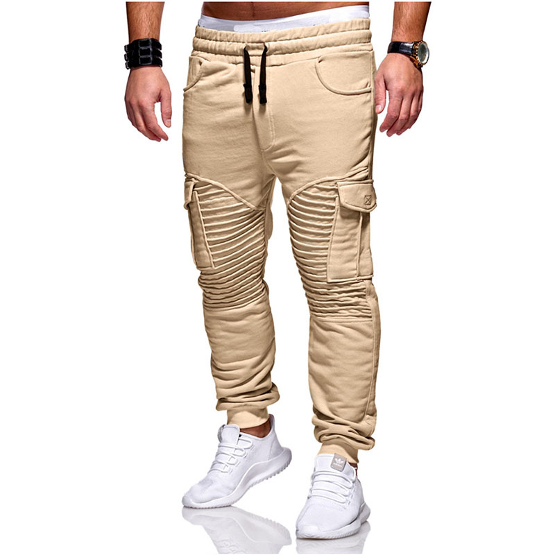 Fold Khaki Black Cargo Pants Mens Cotton Military Multi-Pockets Causal Hip Hop Pants For Men Fashion Summer Slim Fit Trousers