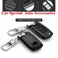 Good Car Key Ring Covers Carbon Fiber Metal Car Key Case Chain For Vw Passat Magotan