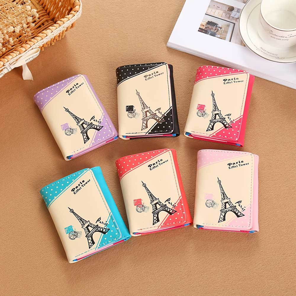 Xiniu Women Purse Paris Eiffel Tower Prints Hasp Coin Purse Short Wallet Card Holders Wallet Women For Cready Card3.59*3