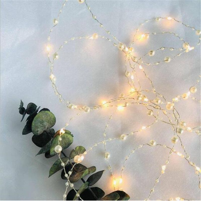 Vintage 2M 5M 10M Pearl Copper Wire Holiday Lamp AA Battery Operate Flexible LED Fairy String Lights For Wedding Party DIY Light