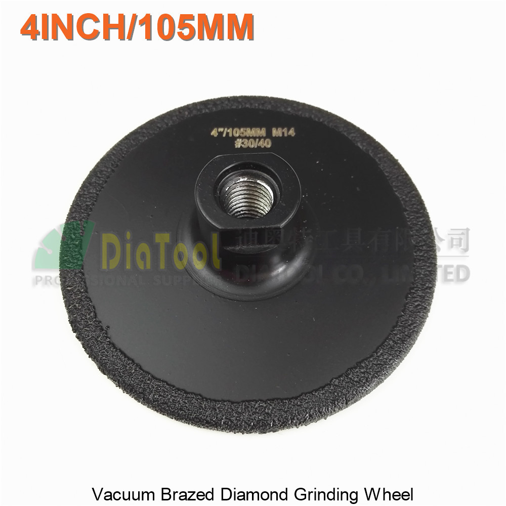 DIATOOL Diameter 4 4.5 5 Vacuum Brazed Diamond Flat Grinding Wheel M14 Grit #30 100mm 105mm 125m Grinder Disc dt diatool 2units 4 5inch vacuum brazed diamond flat grinding wheel m14 grit 30 dia 115mm for beveling wheel grinder disc