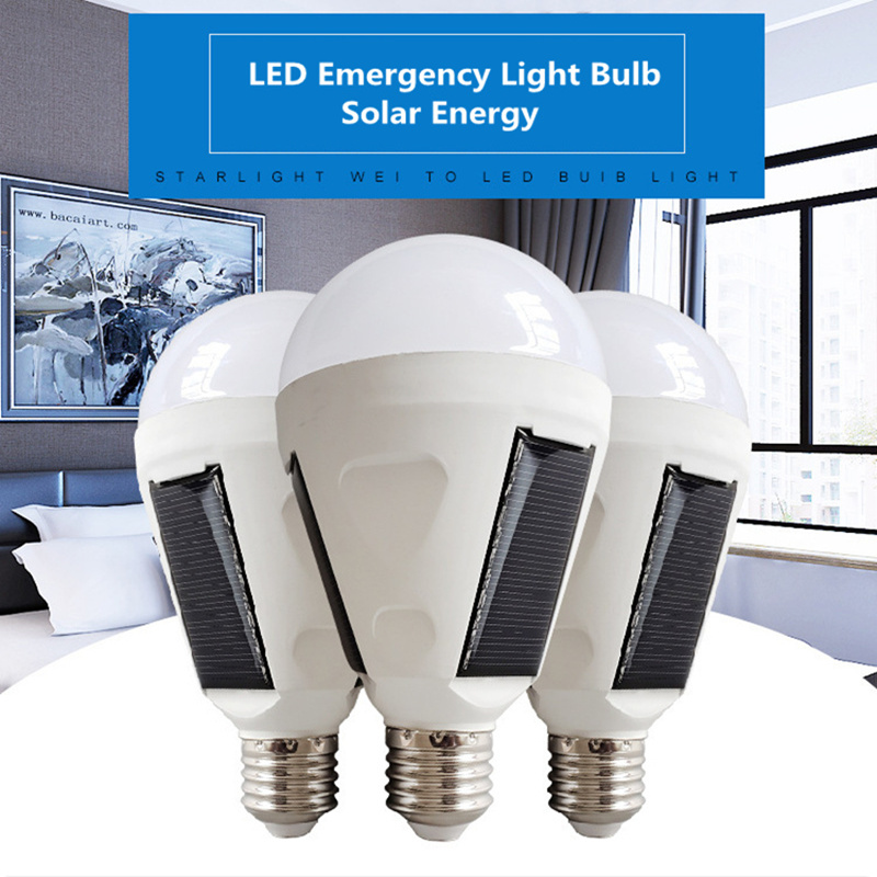 Solar LED Emergency Light Bulb AC85-265V E27 7W 12W Rechargeable Battery Lighting Lamp Intelligent Magical Bombillas Outdoor NEW