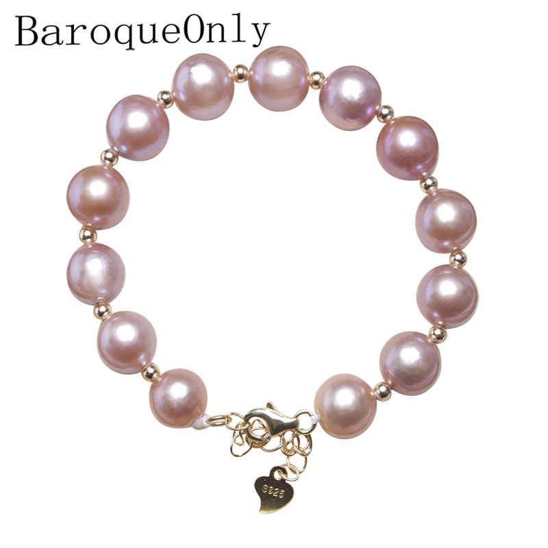 BaroqueOnly Edison Natural Freshwater Pink Pearl Bracelets 925 sterling silver adjustable CLASP Jewelry gift for girl HAM