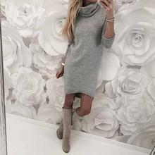 2018 Women Autumn Winter Women Dress Long Sleeve Solid Color Ladies Loose Casual Dresses Lady Bodycon Robe Dresses vestidos
