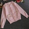 2015 nueva otoño invierno collar lindo de la perla del bebé niñas de punto Cardigan niños de la princesa ropa camiseta baby niñas ropa de abrigo capa