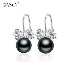 100% genuine freshwater black pearl earrings fashion jewelry 925 Sterling silver earrings for women wedding gift 925 sterling silver tree branch pearl hoop earrings minimalist design fashion earrings for women personalit charms jewelry gift
