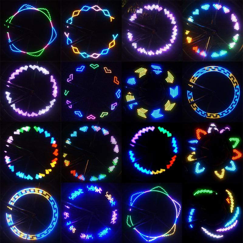 1 pc 7 RGB LED USB Rechargeable 30 Modèles Éclairage Vélo vélo Roue Feux de Signalisation Pneu Pneu Spoke Lumières Lampe Vélo lampes