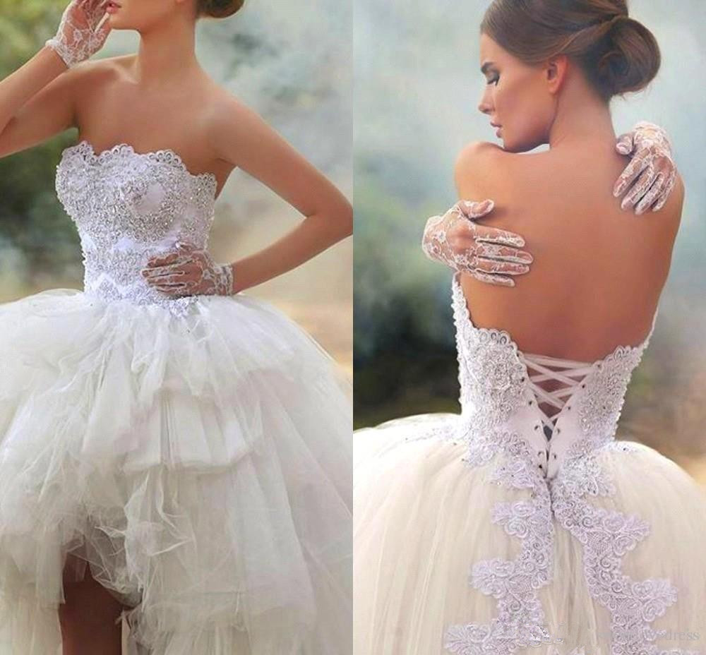 2019 Vintage High Low Short Wedding Dresses Strapless Lace with Beads Lace up Back Corset Vestido