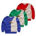 Детские свитер 2017 весной и осенью V-образным Вырезом галстук-бабочку baby boy свитера детей пуловеры свитер случайный ребенок дети свитера