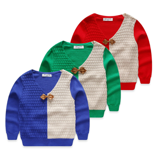 Baby sweater 2017 spring and autumn V-neck bow tie baby boy sweaters child pullover sweater casual child kids sweaters