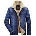 Calças de brim grosso homens jaqueta de 2017 novos quentes jaquetas jeans calças de brim dos homens jaqueta casacos de inverno engrossar homens jaqueta jeans outwear clothing