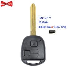 KEYECU for Toyota Avensis Kluger Prado120 Tarago RAV4 Replacement Remote Control Key Fob 433MHz 4D68 Chip P/N 50171, 42050
