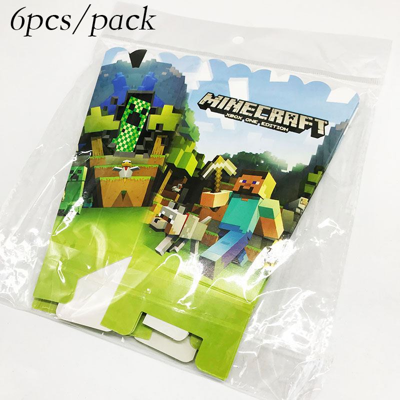 US $2 15 14% OFF|6pcs/pack Minecraft theme popcorn boxes Minecraft birthday  party decorations Minecraft popcorn case-in Gift Bags & Wrapping Supplies