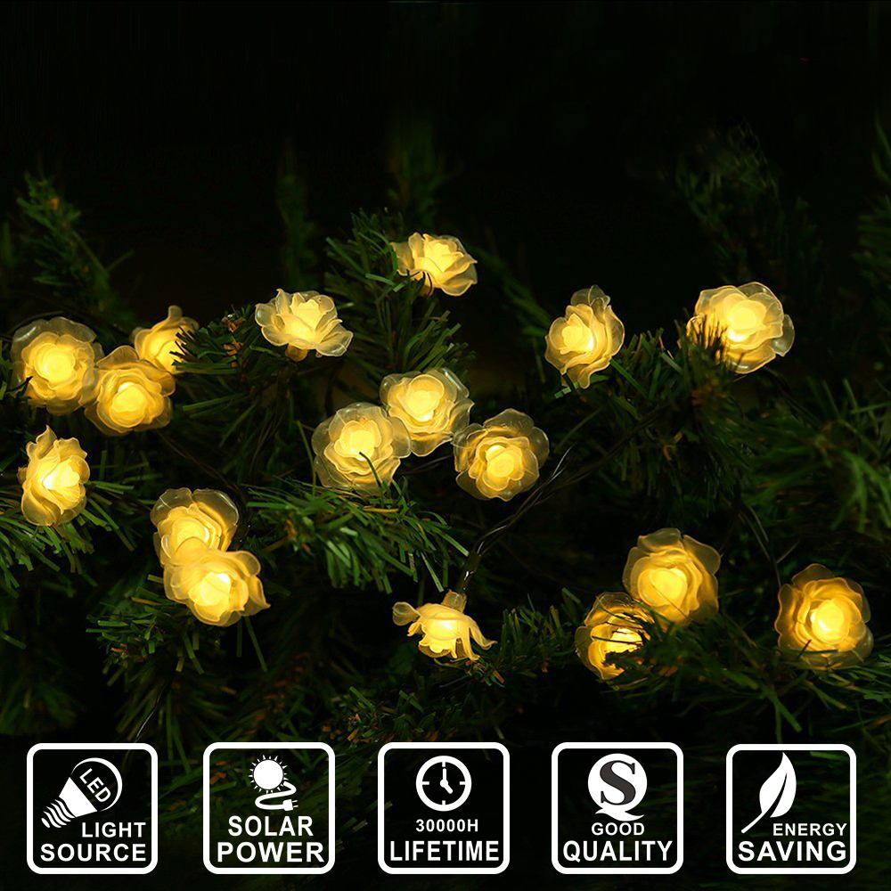 Solar Power 4meters 20 LED Waterproof Rose Solar Fairy String Lights for Garden, Patio, Wedding, Party Holiday IY601029