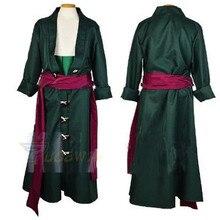 Roupas de cosplay roronoa zoro, conjunto completo de roupas customizadas