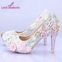 Великолепная обувь для свадьбы круглый носок Свадебная обувь 4 дюйм(ов) на высоком каблуке Женская обувь на платформе розового, серебристог