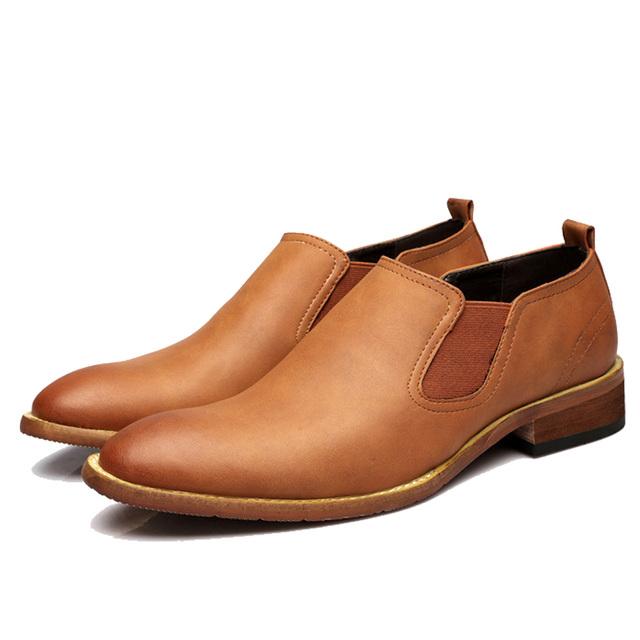 NPEZKGC 2018 Fashion Brand Men's Business Dress Brogue Shoes For Wedding Party Retro Leather Black Brown Round Toe Oxford Shoes