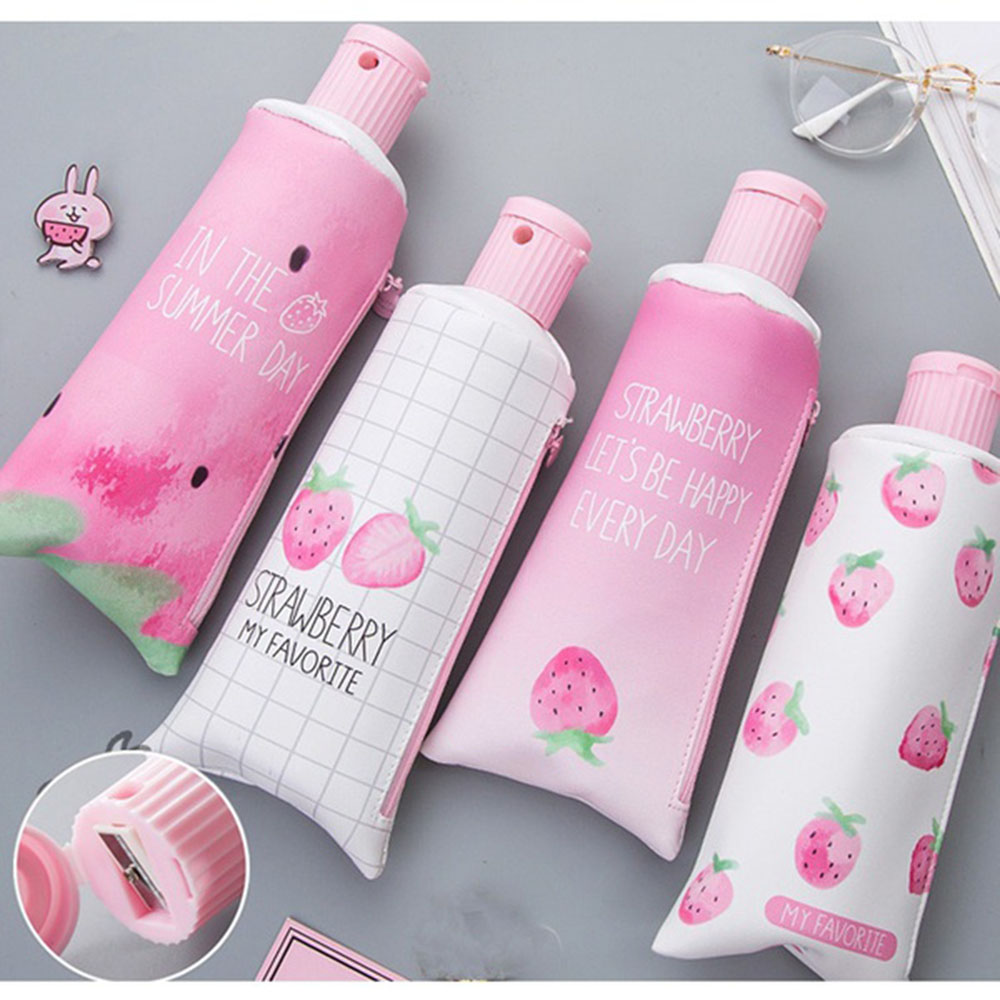 1PCS Cute PINK Strawberry Toothpaste Shape Pencil Case With Pencil Sharpener Storage Bag School Office Supplies Stationery