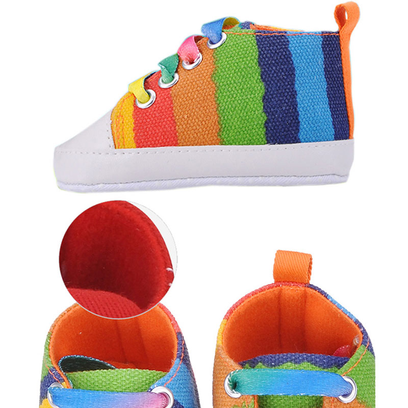 41672b85c Baby Shoes Toddler Baby Rainbow Sneakers Moccasins Shoes For Girls Classic  Canvas Children's Shoes Soft Footwear -in First Walkers from Mother & Kids  on ...