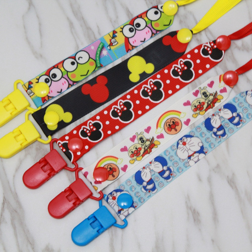 Small Hole Pacifier Clips Cartoon Baby Pacifier Chain Ribbon Feeding Toy Chains Kids Soother Nipple Strap Holder Clip G0177