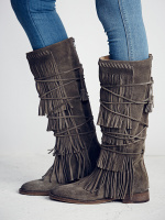 Riband Hot Selling Women Riding Knee High Fall Winter Boots Crossed tied Low Heel outside High Quality Shoes