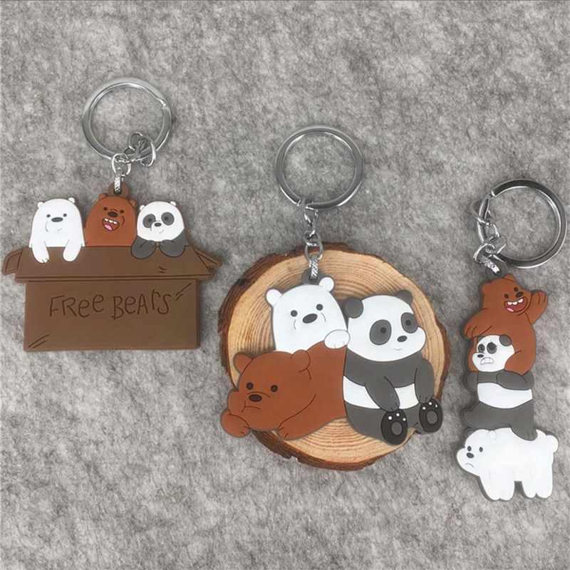 Новые модные креативные украшения Мультяшные медведи ПВХ двухсторонние мягкий брелок/кольцо для ключей игрушка-брелок подарок