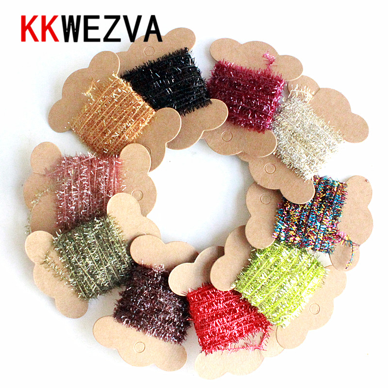 KKWEZVA 10 Colors 10Cards/5M Fly Fishing Tinsel Chenille Crystal Flash Set Fly Tying DIY Flies Flying Fishing Lures Material