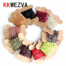 KKWEZVA 10 Colors 10Cards/5M Fly Fishing Tinsel Chenille Crystal Flash Set Tying DIY Flies Flying Lures Material