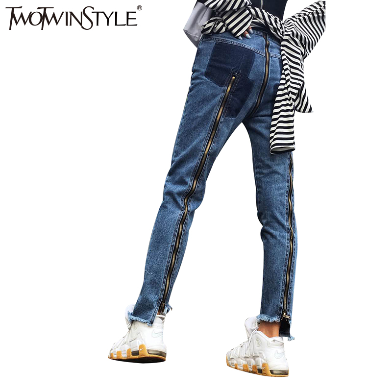 TWOTWINSTYLE Ripped Jeans for Women Female Denim Pants