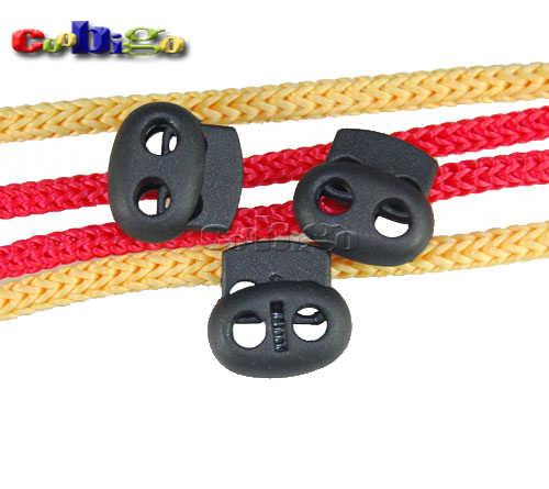 Пластиковая черная Блокировка мини-шнура Bean тумблер 2 отверстия для одежды шнурка шнура Веревка Сумка части 5 ~ 500 шт Упаковка выбрать # FLS028-B