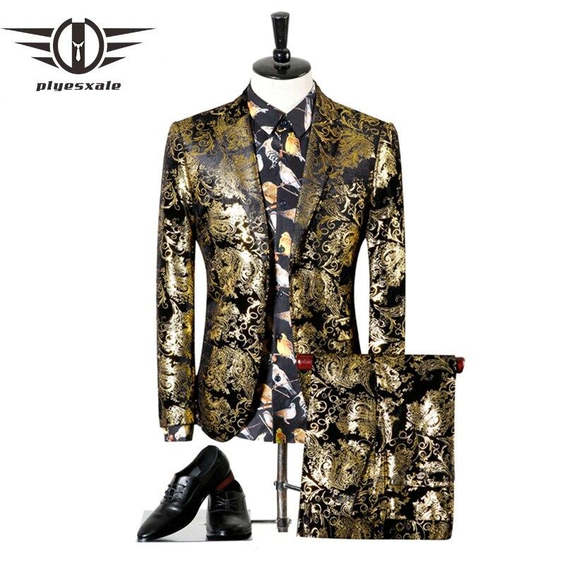 Erkek Kıyafeti'ten T. Elbise'de Plyesxale Erkek Takım Elbise Düğün Için 2018 Lüks Marka Siyah Altın Smokin Ceket Tasarımcısı Balo Elbiseleri Son Pantolon Ceket Tasarımları Q303'da  Grup 1