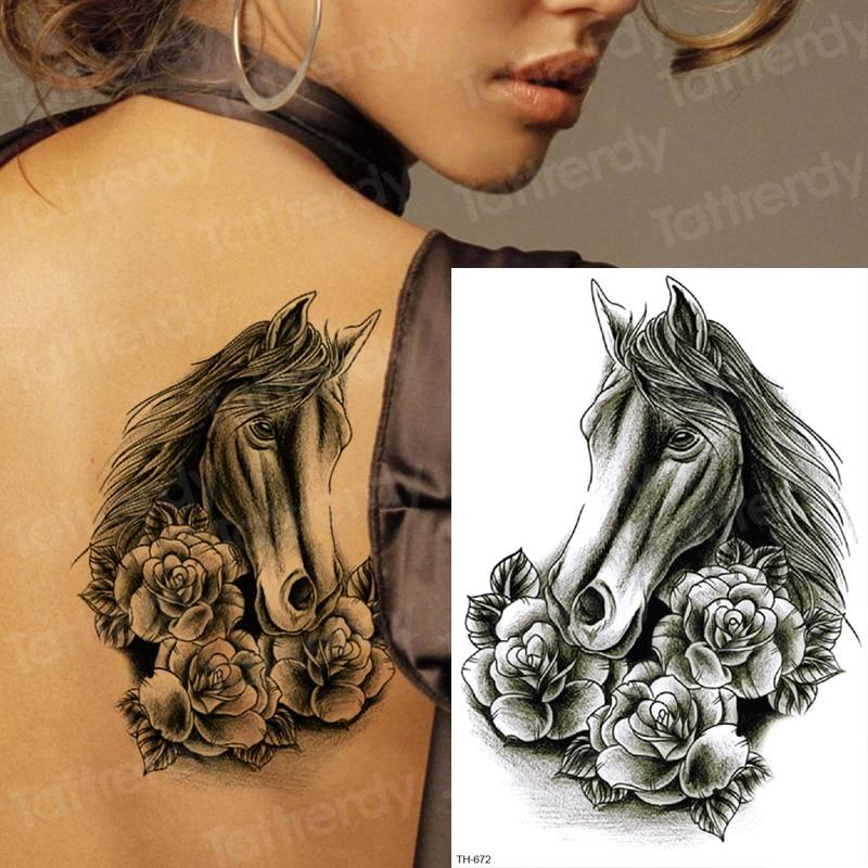 Sketches Tattoo Designs Sexy Tattoo Back Black Mehndi Stickers Horse Rose Tattoo Waterproof Temporary Tattoos For Women Body Art