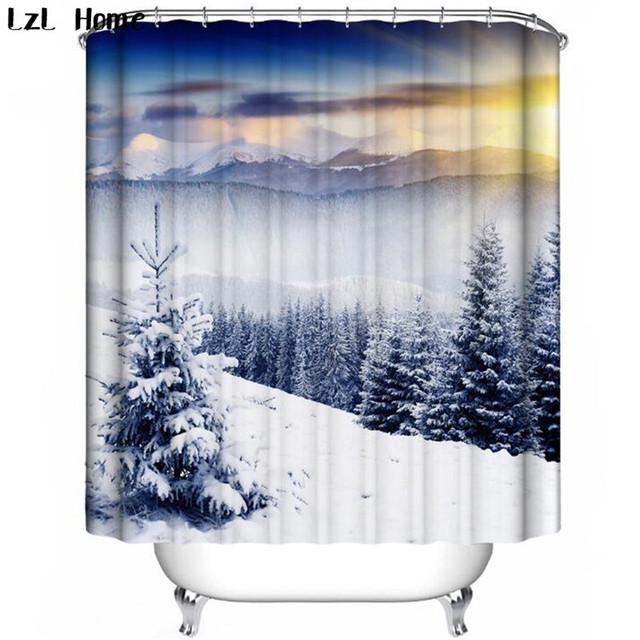 LzL Home Snow Scenery Pattern Shower Curtains Polyester Fabric Modern Profound Artistic Conception For The Bathroom