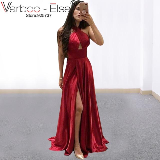 deb807727 VARBOO ELSA 2019 Borgoña Split Sexy lado una línea vestidos de satén vestido  Simple fiesta ocasión vestidos vestido de noche largo