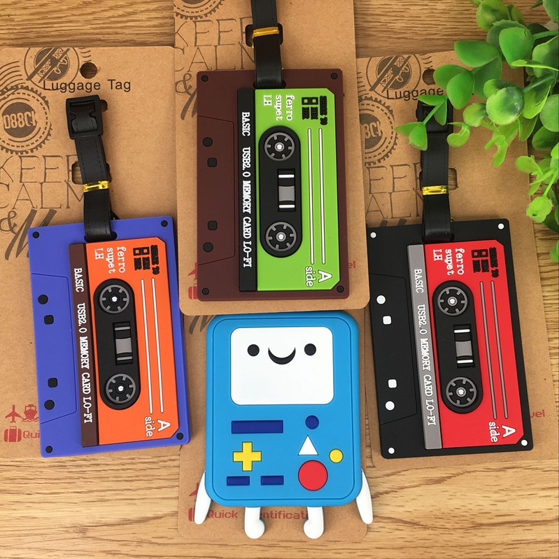 Travel Accessories Luggage Tag Retro Tape Machine Model Silica Gel Suitcase ID Addres Holder Baggage Boarding Portable Label
