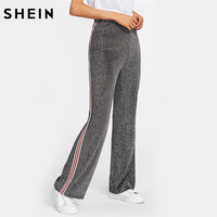 Shein半ばウエストストライプテープ側グリッターパンツグレーワイド脚パンツ女性の秋弾性ウエストカジュアルなズボン