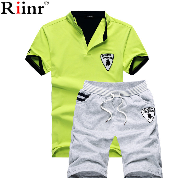 Riinr Fashion New Arrival Men T-shirts Suit High Quality Solid Color Cotton Blends T-shirt+Shorts 2 Piece Sets Mens Tracksuit ...