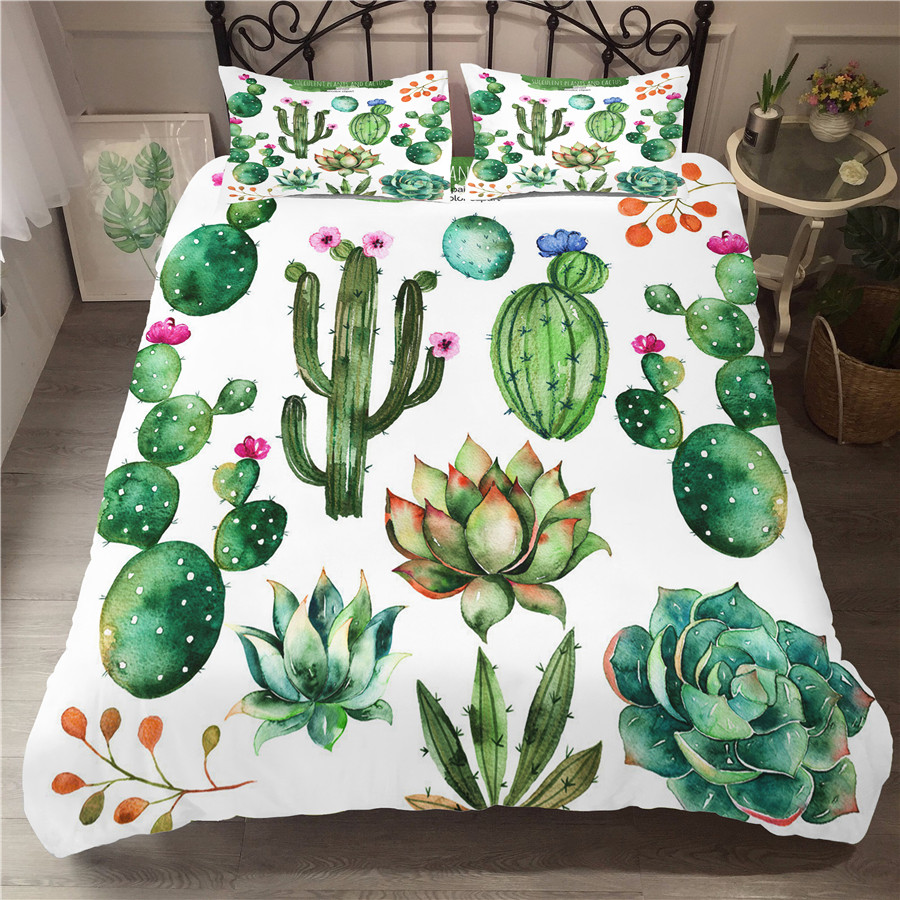 A Bedding Set 3D Printed Duvet Cover Bed Set Cactus Plant Home Textiles for Adults Bedclothes with Pillowcase XRZ07 in Bedding Sets from Home Garden