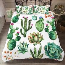 Juego de ropa de cama con estampado 3D, funda nórdica, Cactus, plantas, Textiles para el hogar para adultos, ropa de cama con funda de almohada # XRZ07