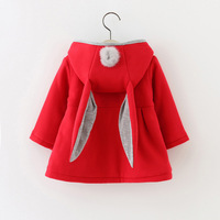 Cute Rabbit Ear Hooded Baby Girls Coat New Autumn Tops Kids Warm Jacket Outerwear Coat Children