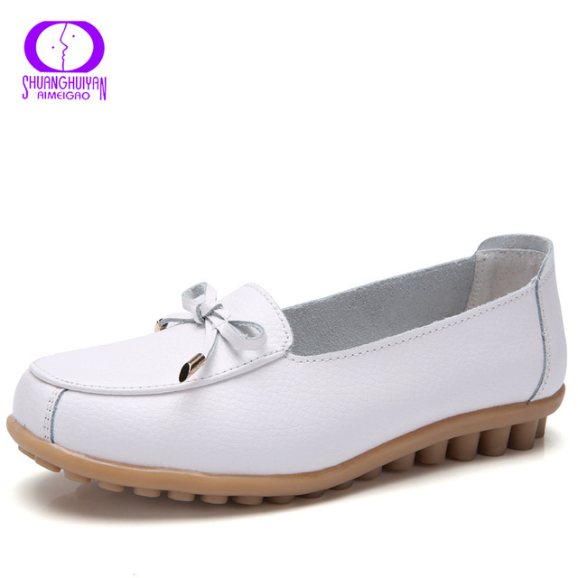b381dd7588 AIMEIGAO 2019 Spring Butterfly Knot Slip on Flat Shoes Women Round Toe Soft  Leather Loafers Shoes Women Non Slip Ballet Flats