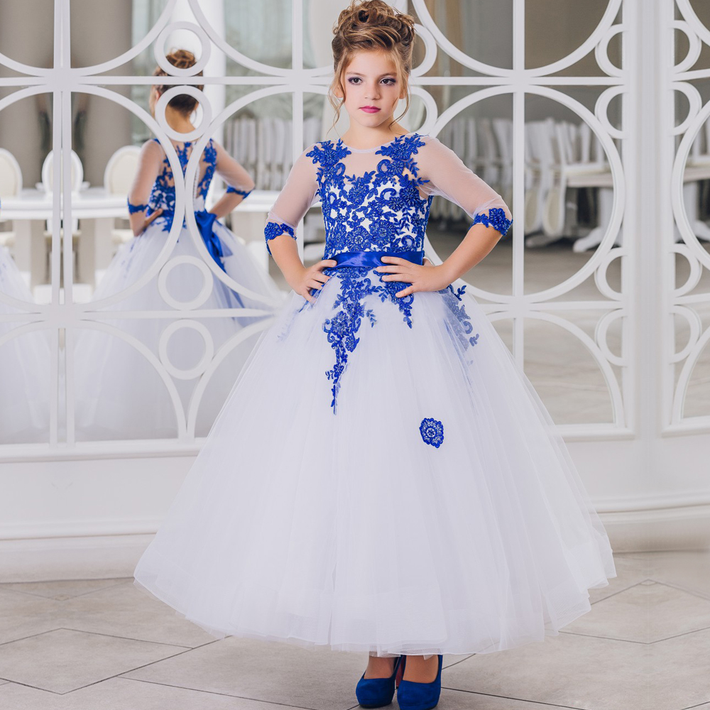 2017 New Hot Flower Girl Dresses Royal Blue Bow Sashes O-Neck Three Quarter Lace Ball Gown Formal Pageant Communion Gown Vestido girls formal dress lace three quarter ball gown backless bow sash long flower girls communion 2016 pageant dress 1 14 years old