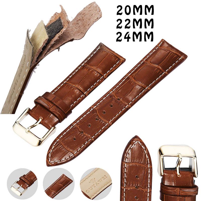 Leather Watch Band 20 22 24mm Genuine Watchstrap Gold Buckle Brown Strap for Man and Women WristBand Watch Belt for Boy and Girl гарнитура genius hs g680 черный