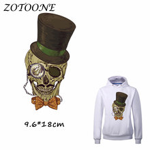 ZOTOONE Heat Transfer Clothes Stickers Hat Skull Patches for T Shirt Jeans Iron-on Transfers DIY Decoration Applique Clothes C 50pcs wholesale bird heat transfers iron on patches for coat jeans t shirt clothes decorative diy craft stickers applications