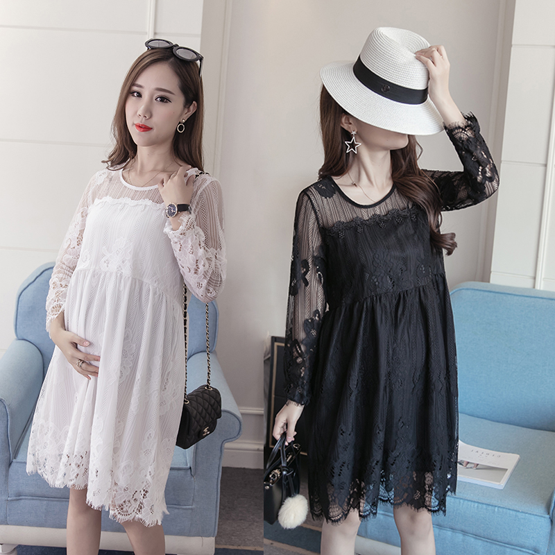 Maternity spring lace 2017 new female all-match spring dress coat dress hot spring tide mother. 2017 new spring women maternity t shirt
