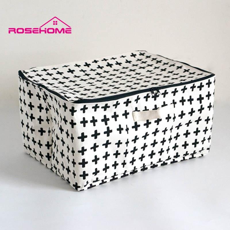 ROSEHOME Linen Ringkas Kapas Kotak Penyimpanan Kalis Air dengan Beg Kosmetik Zip Home Decor Housekeeping Orgnization Traveling Bag